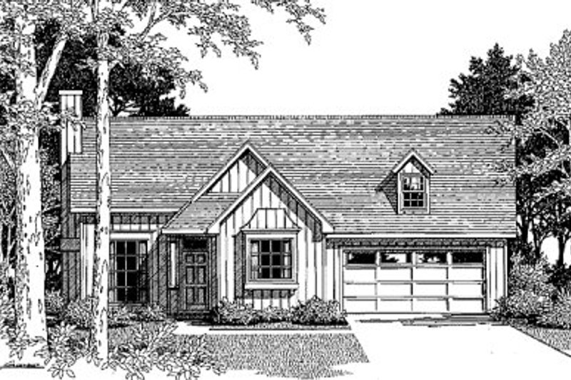 Country Style House Plan - 3 Beds 2 Baths 1304 Sq/Ft Plan #41-106 Exterior - Front Elevation