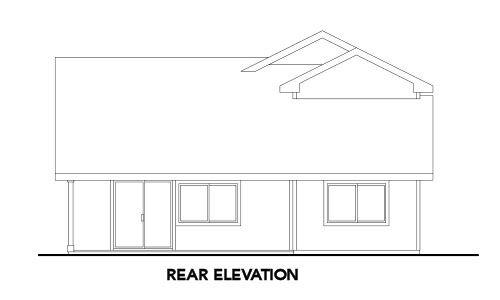 Exterior - Rear Elevation Plan #124-595 - Houseplans.com