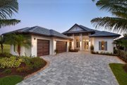Beach Style House Plan - 3 Beds 3.5 Baths 3527 Sq/Ft Plan #27-492 Exterior - Front Elevation