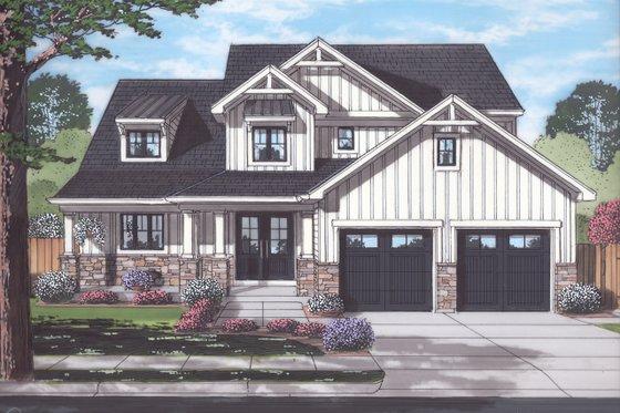 Craftsman Exterior - Front Elevation Plan #46-891