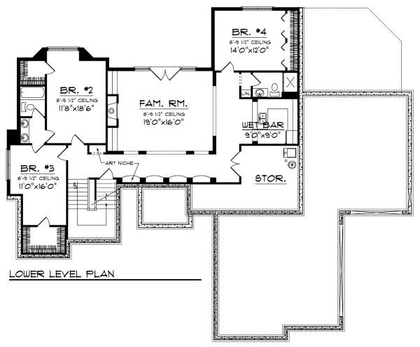 European Floor Plan - Lower Floor Plan Plan #70-884