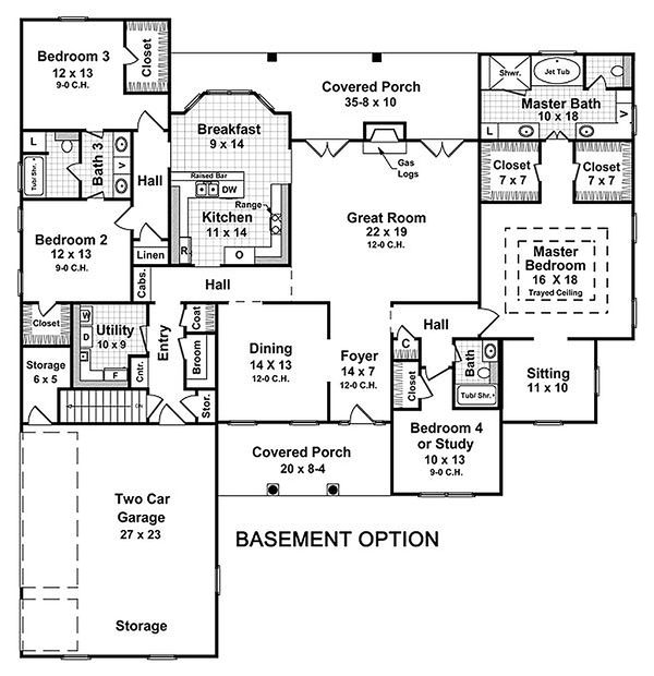 Main level floor plan - 2800 square foot Country home