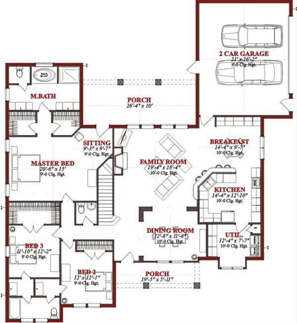 European Floor Plan - Main Floor Plan Plan #63-320