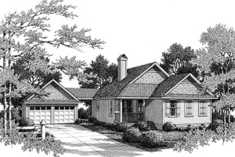 Farmhouse Style House Plan - 3 Beds 2 Baths 1430 Sq/Ft Plan #41-175 Exterior - Front Elevation