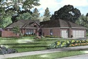 European Style House Plan - 4 Beds 3 Baths 3438 Sq/Ft Plan #17-2351 Exterior - Front Elevation