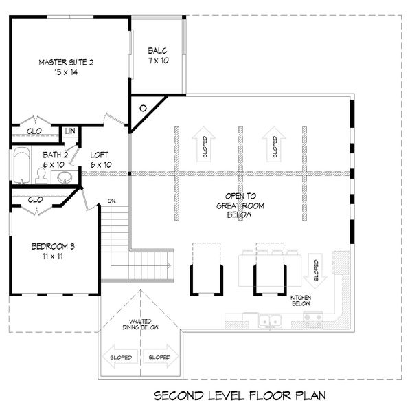 Country Floor Plan - Upper Floor Plan #932-33