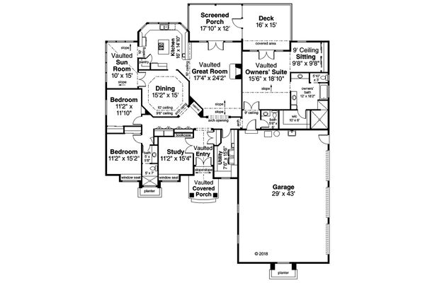 European Floor Plan - Main Floor Plan Plan #124-1144
