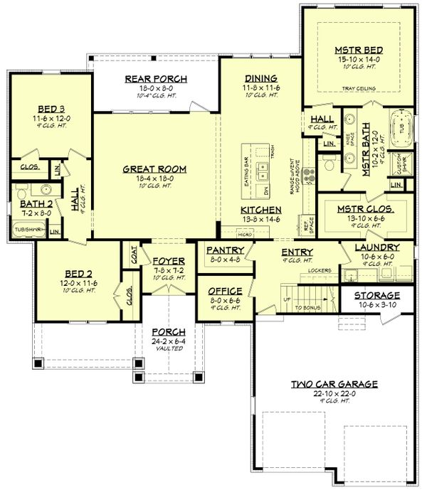 Country Floor Plan - Main Floor Plan Plan #430-193