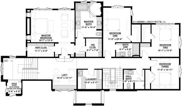 Traditional Floor Plan - Upper Floor Plan #928-331