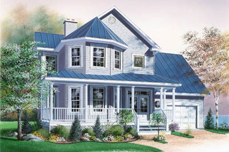 Country Style House Plan - 3 Beds 2.5 Baths 1760 Sq/Ft Plan #23-274 Exterior - Front Elevation