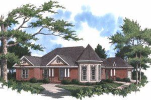 European Exterior - Front Elevation Plan #37-126