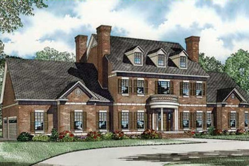 Colonial Style House Plan - 3 Beds 5.5 Baths 4996 Sq/Ft Plan #17-2290 Exterior - Front Elevation