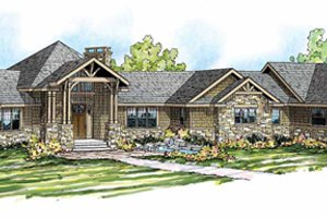 Craftsman Exterior - Front Elevation Plan #124-848