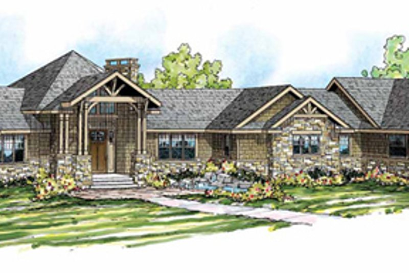 Craftsman Style House Plan - 4 Beds 3.5 Baths 5110 Sq/Ft Plan #124-848 Exterior - Front Elevation