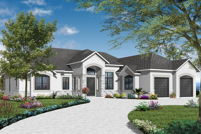 Mediterranean Style House Plan - 3 Beds 2.5 Baths 2495 Sq/Ft Plan #23-2219 Exterior - Front Elevation