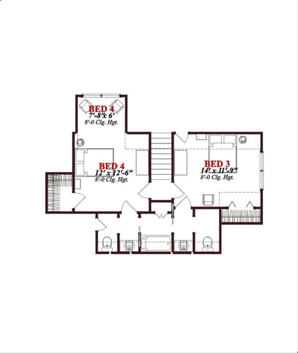 European Floor Plan - Upper Floor Plan Plan #63-316