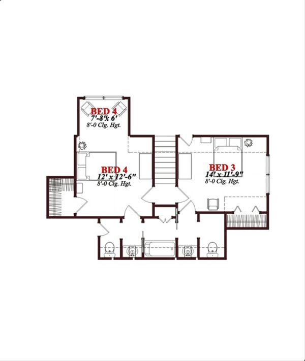 European Floor Plan - Upper Floor Plan Plan #63-316