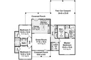 Country Style House Plan - 3 Beds 2 Baths 1720 Sq/Ft Plan #21-340 Floor Plan - Main Floor Plan