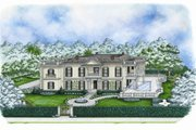 Colonial Style House Plan - 4 Beds 3.5 Baths 5585 Sq/Ft Plan #27-447 Exterior - Front Elevation