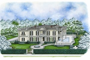 Colonial Exterior - Front Elevation Plan #27-447