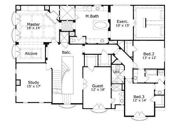 European Floor Plan - Upper Floor Plan Plan #411-656