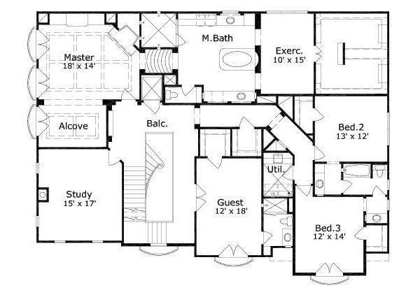 European Floor Plan - Upper Floor Plan #411-656