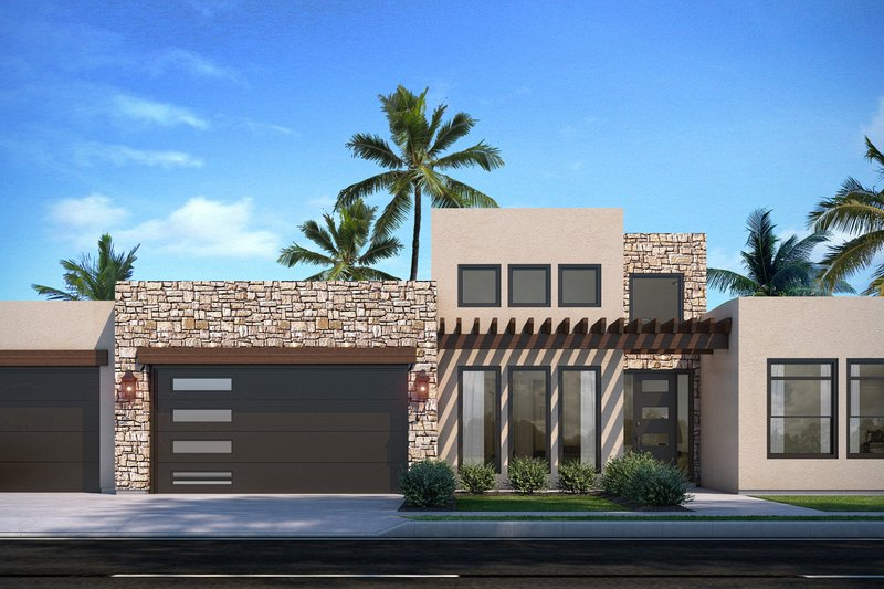 House Plan Design - Adobe / Southwestern Exterior - Front Elevation Plan #1073-31