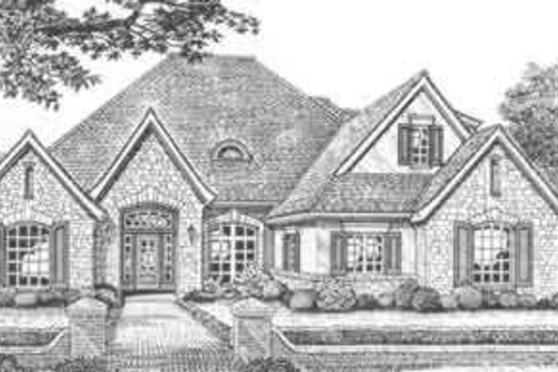 European Style House Plan - 4 Beds 3.5 Baths 3020 Sq/Ft Plan #310-495 Exterior - Front Elevation