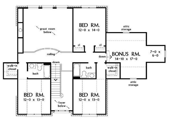 Country Floor Plan - Upper Floor Plan Plan #929-12