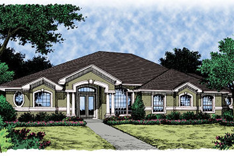 Mediterranean Style House Plan - 3 Beds 2.5 Baths 2173 Sq/Ft Plan #417-210 Exterior - Front Elevation