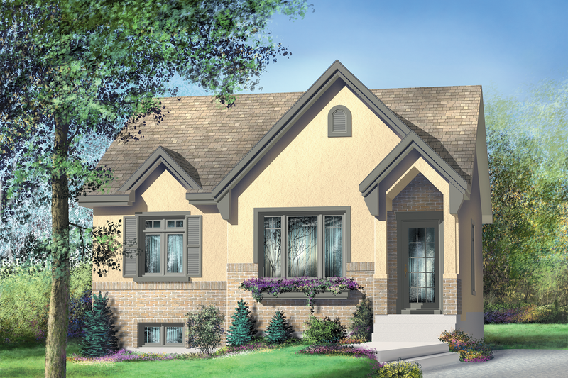 European Style House Plan - 2 Beds 1 Baths 924 Sq/Ft Plan #25-154 Exterior - Front Elevation