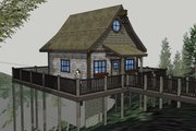 Cabin Style House Plan - 1 Beds 1 Baths 651 Sq/Ft Plan #123-115 Exterior - Front Elevation