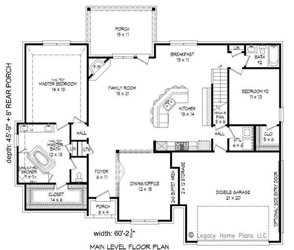 Country Floor Plan - Main Floor Plan Plan #932-102