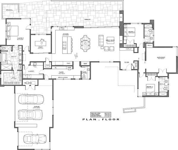 Contemporary Floor Plan - Main Floor Plan Plan #892-26
