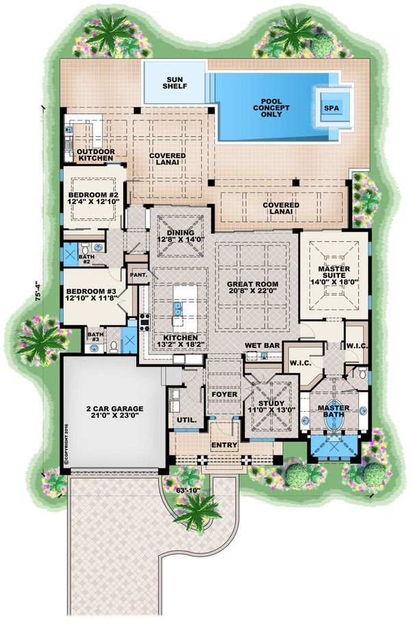 Contemporary Floor Plan - Main Floor Plan Plan #27-551