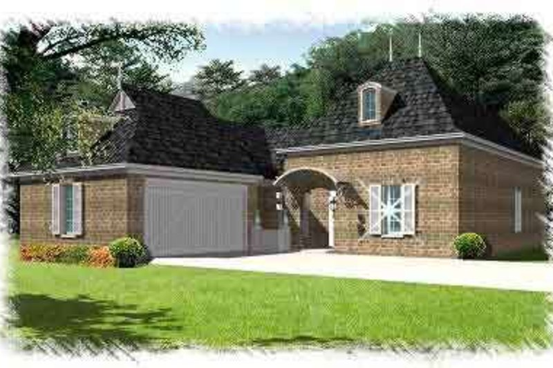 European Exterior - Front Elevation Plan #15-282