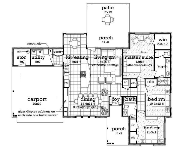 Ranch Floor Plan - Main Floor Plan Plan #45-576