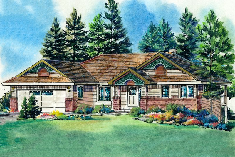Traditional Style House Plan - 2 Beds 3 Baths 1302 Sq/Ft Plan #18-1019 Exterior - Front Elevation