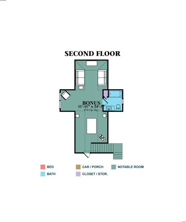 Traditional Floor Plan - Upper Floor Plan Plan #63-345