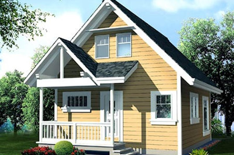 Cottage Style House Plan - 1 Beds 1 Baths 796 Sq/Ft Plan #118-107 Exterior - Front Elevation