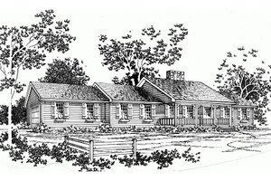 Ranch Exterior - Front Elevation Plan #10-132