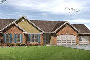Ranch Style House Plan - 3 Beds 2.5 Baths 1902 Sq/Ft Plan #22-527 Exterior - Front Elevation
