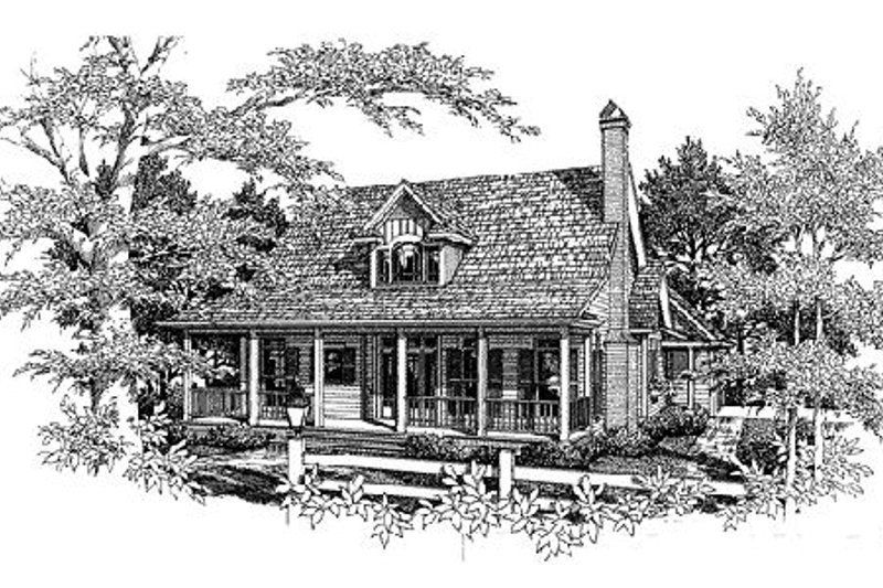 Country Style House Plan - 3 Beds 2.5 Baths 1808 Sq/Ft Plan #41-131 Exterior - Front Elevation