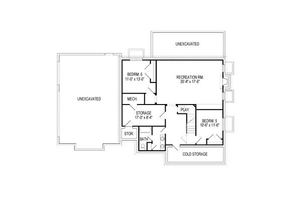 Craftsman Floor Plan - Lower Floor Plan Plan #920-58