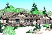 Ranch Style House Plan - 3 Beds 2 Baths 2508 Sq/Ft Plan #60-215 Exterior - Front Elevation