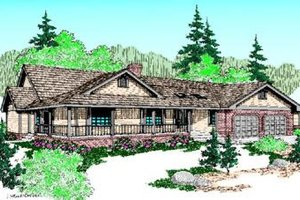 Ranch Exterior - Front Elevation Plan #60-215