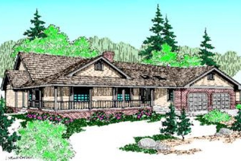 Ranch Exterior - Front Elevation Plan #60-215 - Houseplans.com