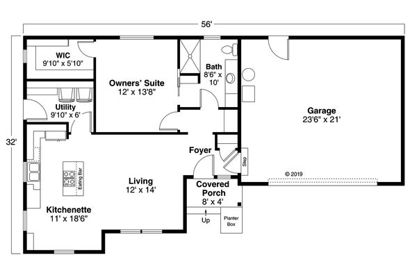 Architectural House Design - Country Floor Plan - Main Floor Plan #124-1170