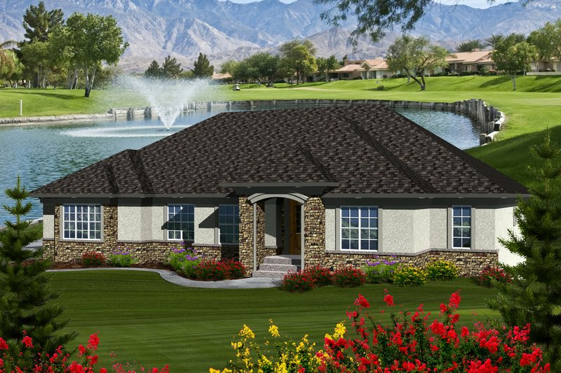Ranch Exterior - Front Elevation Plan #70-1128