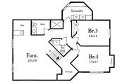 Mediterranean Style House Plan - 2 Beds 2 Baths 1292 Sq/Ft Plan #409-108 Floor Plan - Lower Floor Plan